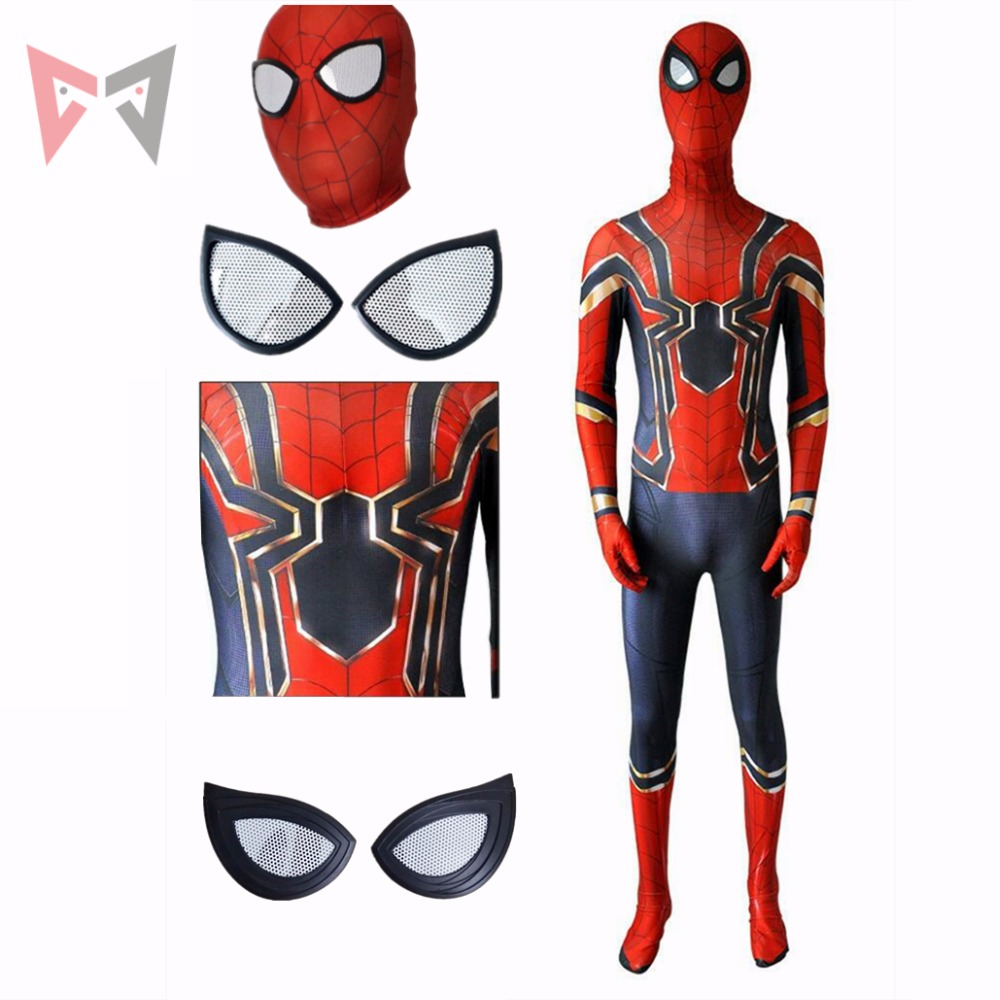 MMGG Spiderman Homecoming Cosplay Costume Zentai Iron Spider Man Superhero Bodysuit Suit Jumpsuits custom made size