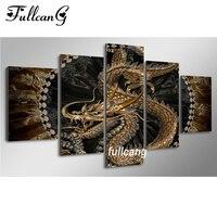 FULLCANG Dragon Diy 5pcs Diamond Painting Cross Stitch Diamond Embroidery Animals 5D Square Diamond Mosaic Painting