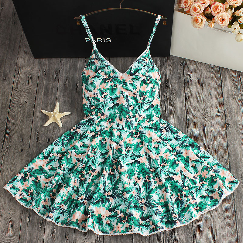 Beach Floral Dress Women One Piece Swimsuit Femme Push Up Green Swimwear Ladies Sexy Bathing Suit 2018 Swim Wear Beachwear Skirt women cover up swimwear beach dress skirt one piece swimsuit printed tunic bathing suit 2017 new arrival large size