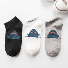 Женские хлопковые носки с рисунком акулы модные хип-хоп стиль новые женские лодочные носки весна лето осень хлопок повседневные короткие носки