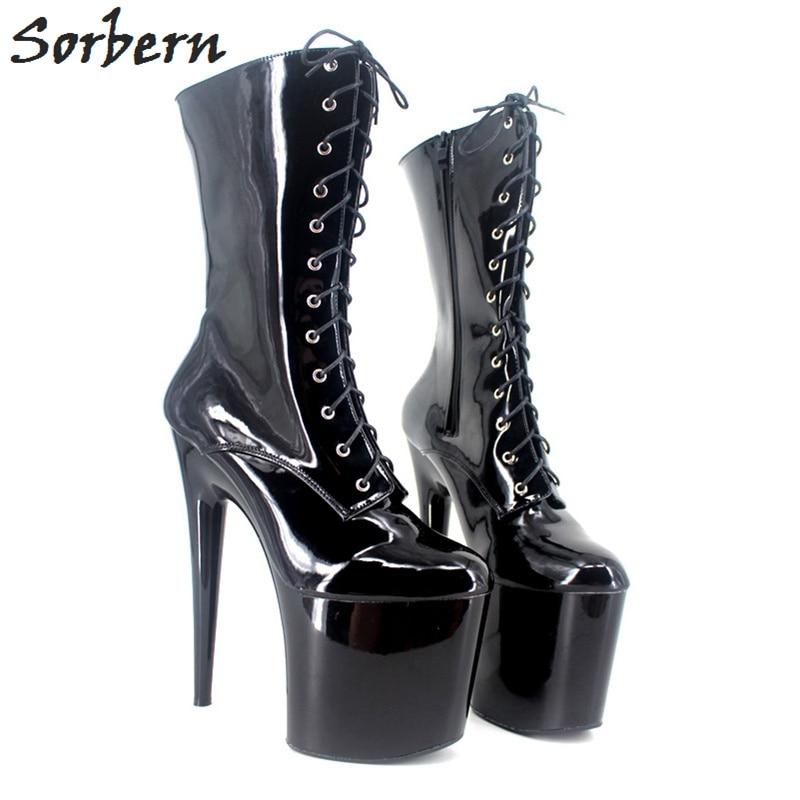 Sorbern Sexy Black Heels Platforms Half Boots For Women 20Cm Ultra High Heels Shoes For Women 2018 Fetish Boots Custom Colors