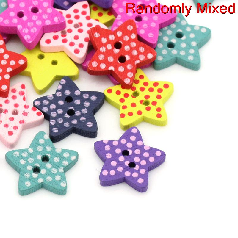 "DoreenBeads Wood Sewing Button Scrapbooking Stars Mixed Two Holes Dot Pattern 16.0mm( 5/8"") x 15.0mm( 5/8""), 20 PCs 2015 new"