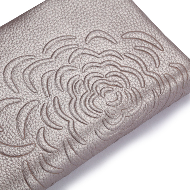 Elegant Floral Patterned Durable Genuine Leather Women's Wallet