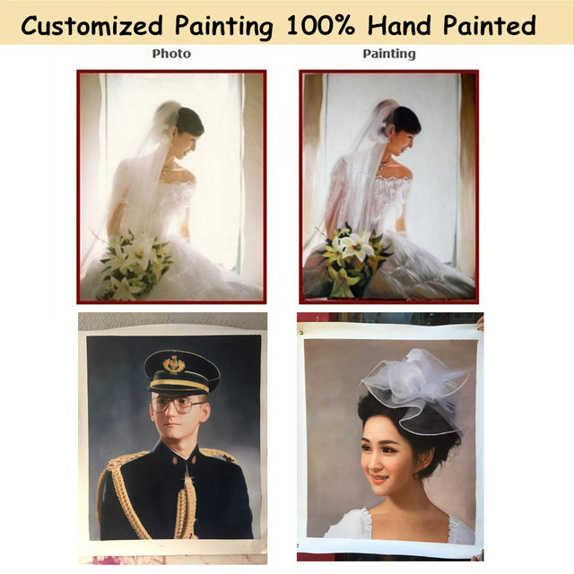 Customize Photo Picture to Canvas Painting Art Portrait Animal Oil Painting for Home Decor Hand Painted High Quality