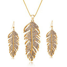Gold Plated Feather Rhinestone Austrian Crystal Jewelry Necklaces And Earrings Sets Christmas Holiday Sale