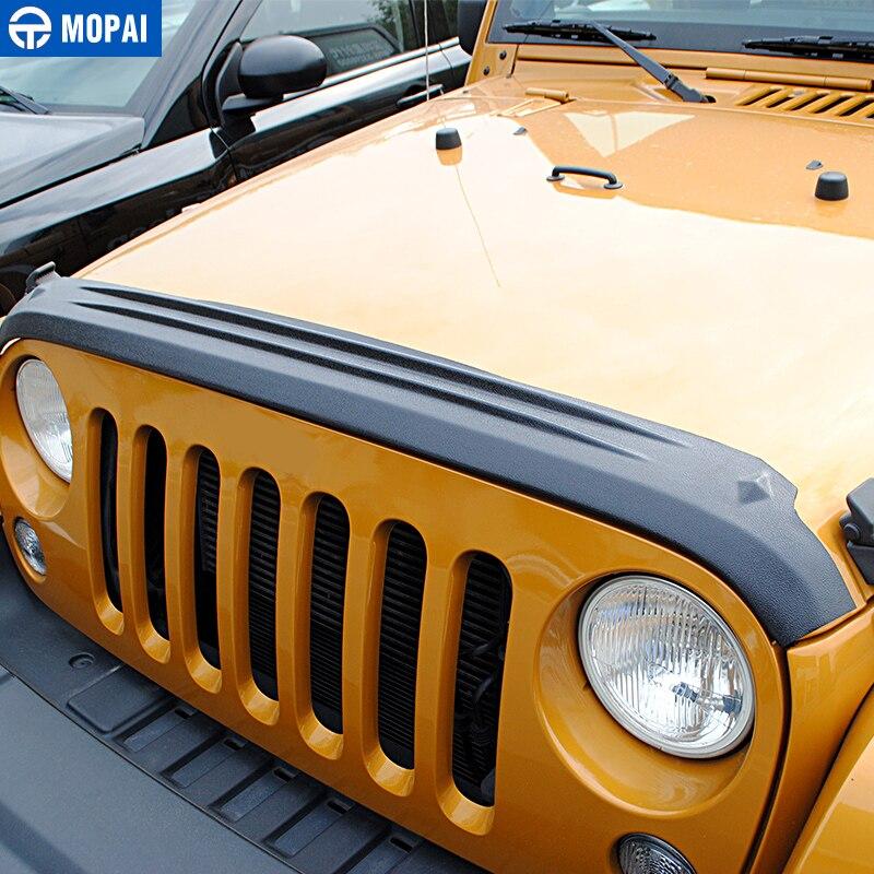 MOPAI ABS Auto Vorne Hinten Grille Motor Sand Stein Block Wind Air Deflektor Schild Abdeckung Aufkleber für Jeep Wrangler JK 2007 2017 - 4