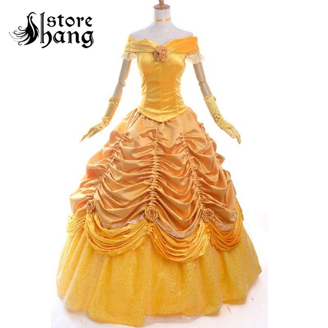 adult princess belle costume halloween costumes for women Beauty and the Beast cosplay party Prom Dress plus size custom