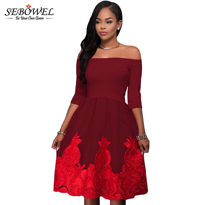 SEBOWEL 2018 Lacy Embroidery Tulle Salsh Neck Tunic Party Dress Short Off  Shoulder Pleated Backless Midi Skater Dress-in Dresses from Women s  Clothing on ... d7ada2317db7