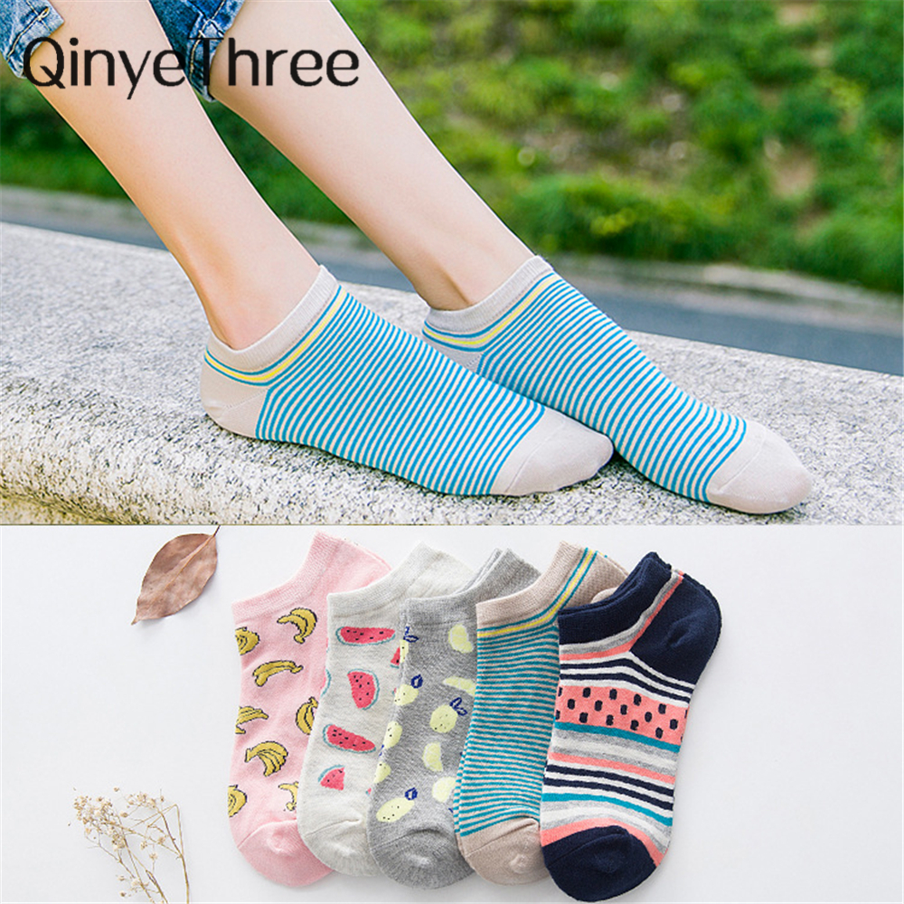 New Style Women's Sock Cute Fruit Color Love Candy Color Casual Spring Summer Cozy Cotton Women Short Socks Banana Hosiery