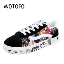 2018 New Fashion canvas shoes men skate sneakers Fashion spring/autumn lace-up men's casual shoes Print Design for Student