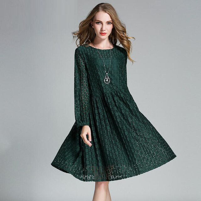 a929724c50 Women Dress 2017 Spring Sexy Plaid Hollow Out Lace Dress 4XL Plus Size Long  Sleeve Loose