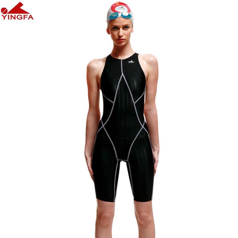 Yingfa FINA approved one piece competition knee length waterproof chlorine resistant women's swimwear sharkskin swimsuit yingfa 9402 fina