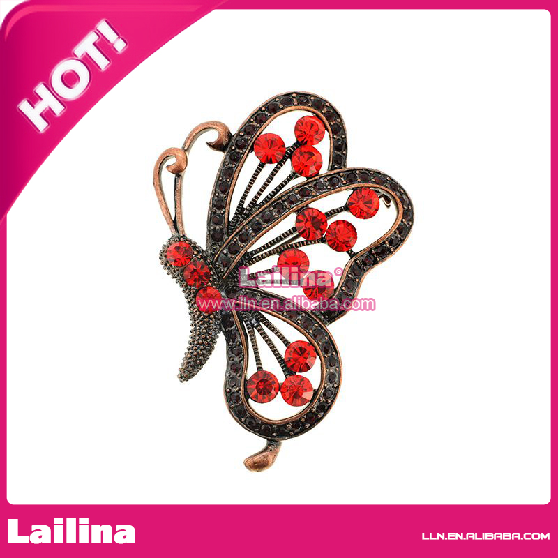 100pcs/lot Vinage butterfly with red rhinestone crystal brooch pin