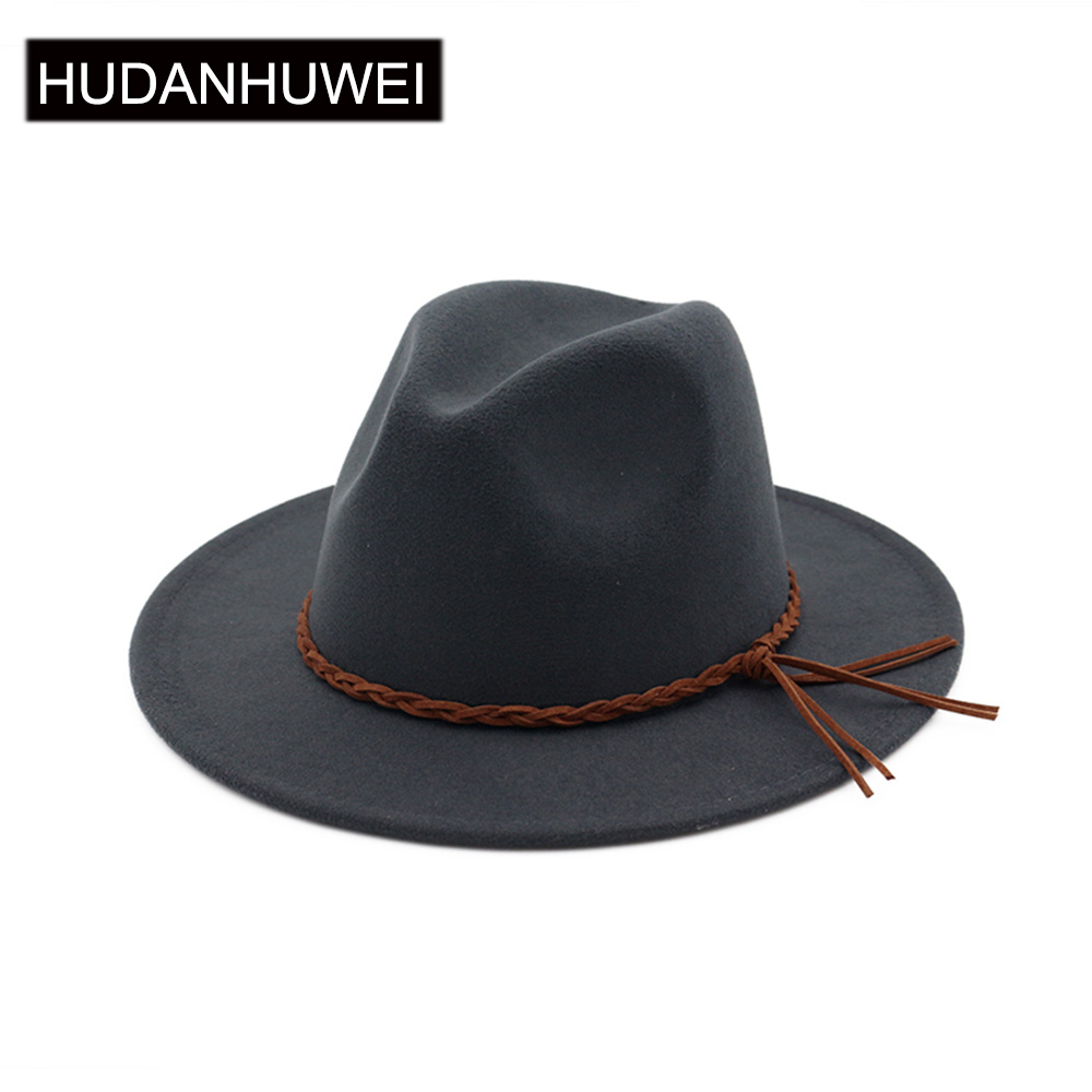Vintage Braid Belt Hat Fedora Hats For Women  Mens Hat Woolen Felt Fedora Chapeau Homme Feutre Fascinator Sombrero MNDJS016