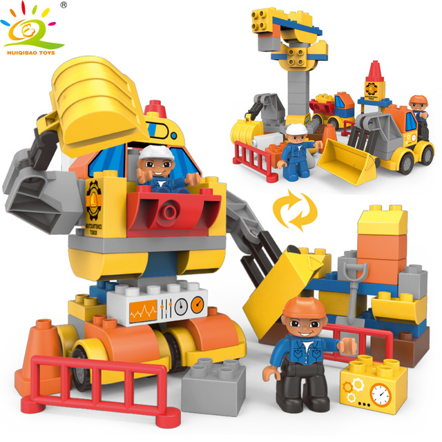 HUIQIBAO TOYS 63pcs Construction Robot Large Size Building Blocks For Children Compatible Legoed Duploed City Car figures bricks