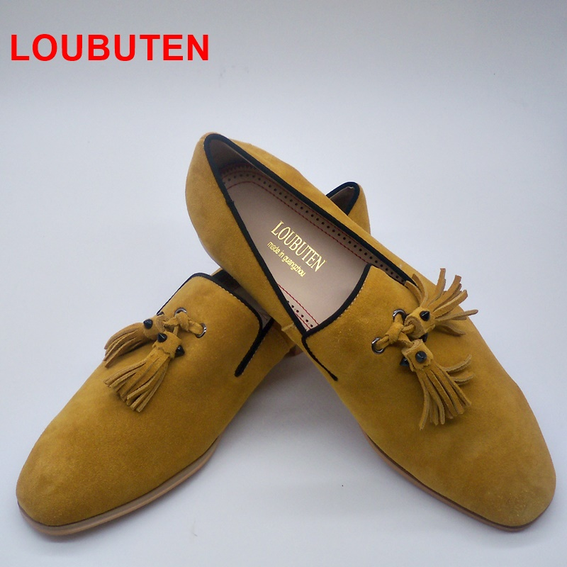 LOUBUTEN Yellow Suede Loafers Tassels Men's Moccasins Slippers Smoking Man Flats Casual Shoes Genuine Leather Handmade Shoes