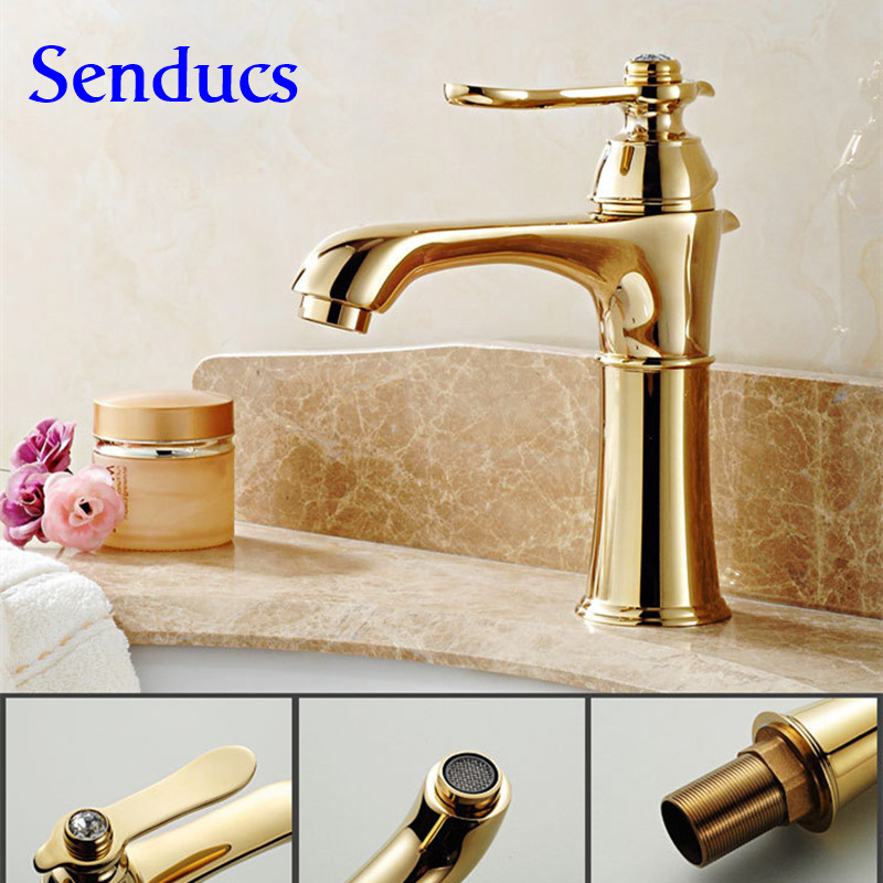 Free shipping Hot Sale Deck Mounted Brass Vanity Sink Mixer Tap with Hot Cold golden faucet for gold Bathroom sink mixer taps free shipping wall mounted brass door stopper suitable for interior doors door holders for sale high suction 240g