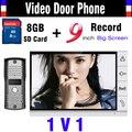 2016 Обновленная Версия 9 Дюймов Большой Экран + 8 ГБ SD Карты Запись видео-Телефон Двери домофон ИК Ночного Видения Дверь Камеры