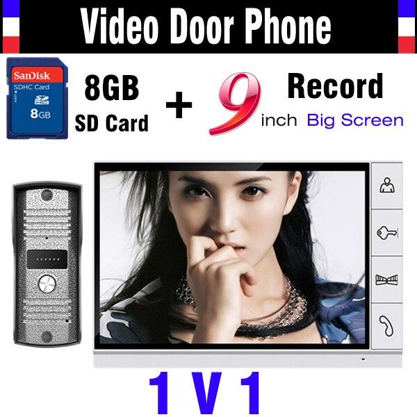 Upgraded Version 9 Inch Big Screen + 8GB SD Card Video Record Door Phone intercom System IR Night Vision Doorbell Camera