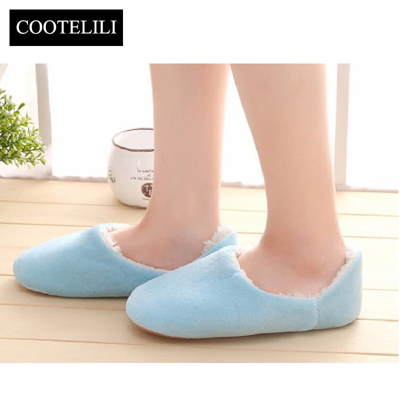 COOTELILI Winter Fashion Women Home Slippers Flock Warm Shoes Woman Slip on Flats Plush Female Inside Slides Plus Size 36-41 lanshulan bling glitters slippers 2017 summer flip flops platform shoes woman creepers slip on flats casual wedges gold