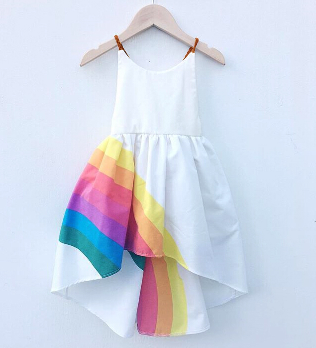 Toddler Kids Baby Girls Rainbow Pageant Party Princess Strap Tutu Dress Clothes