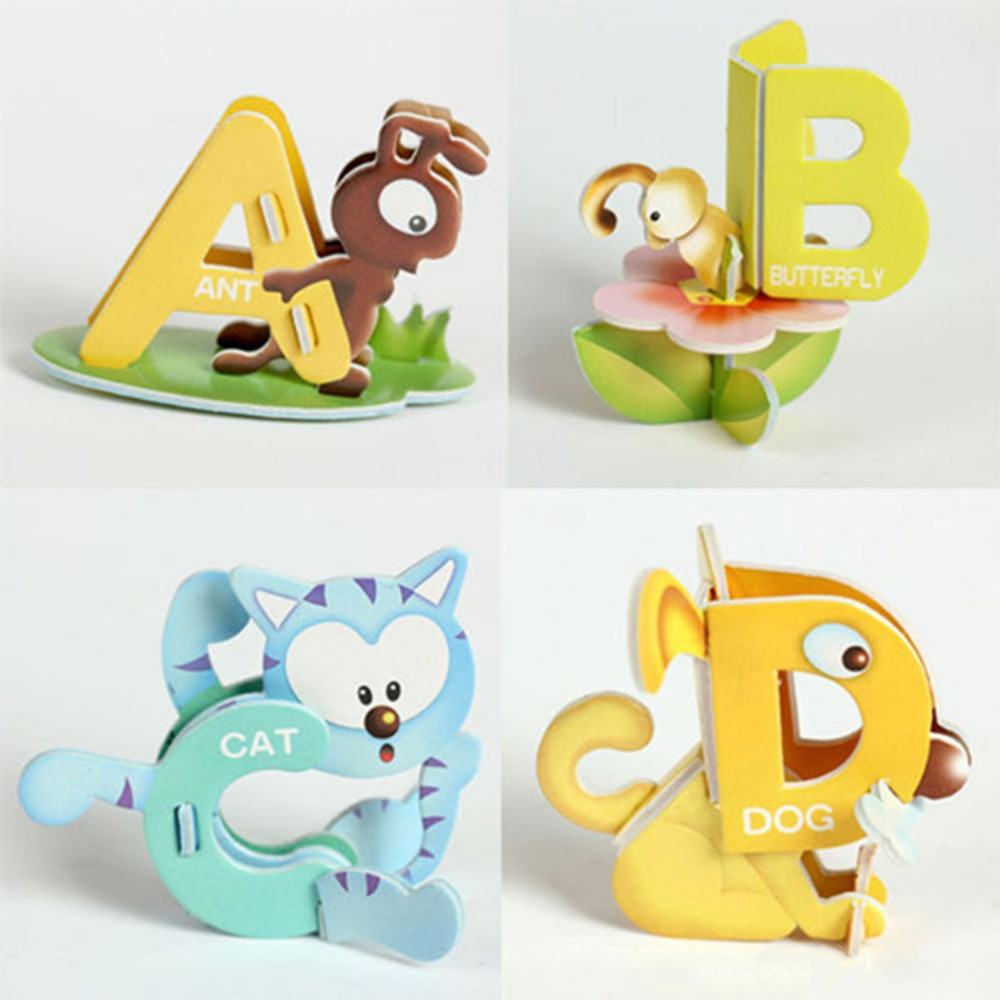 26pcs Set 19cm 14cm Educational Paper Puzzle For Children 26 Knob Abc Letters Aminal Design 3d Diy Early Learning Baby Toys In Puzzles From Hobbies On