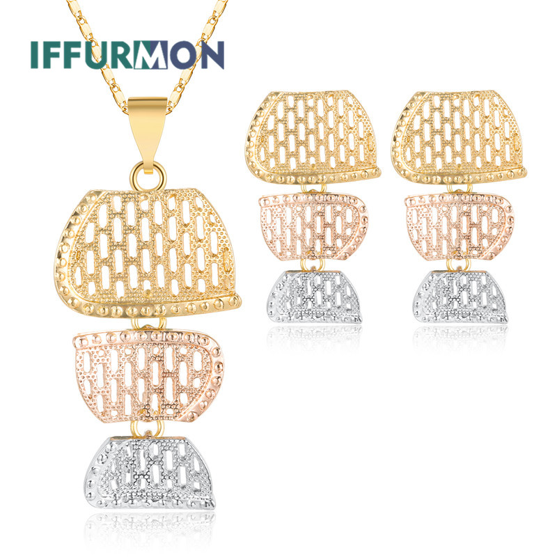 IFFURMON Sweet Bridal Jewelry Sets Nigerian African Earrings Necklace Sets For Women Gold Color Wedding Jewelry Set