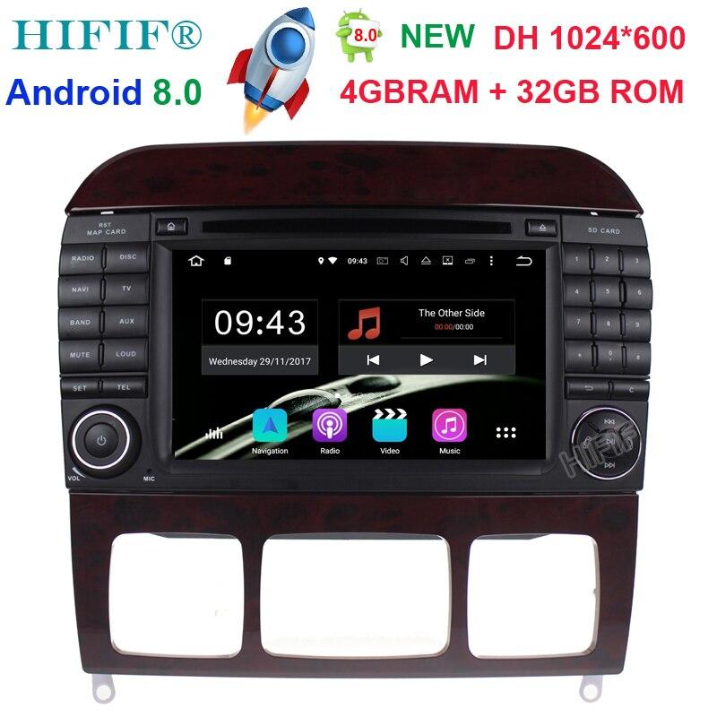Neu ''Voiture Lecteur DVD GPS Sat Navi Android 8.0 Stéréo Pour Mercedes Benz Classe S W220 W215 S280 S320 S400 S500 4 GB RAM 32 GB ROM