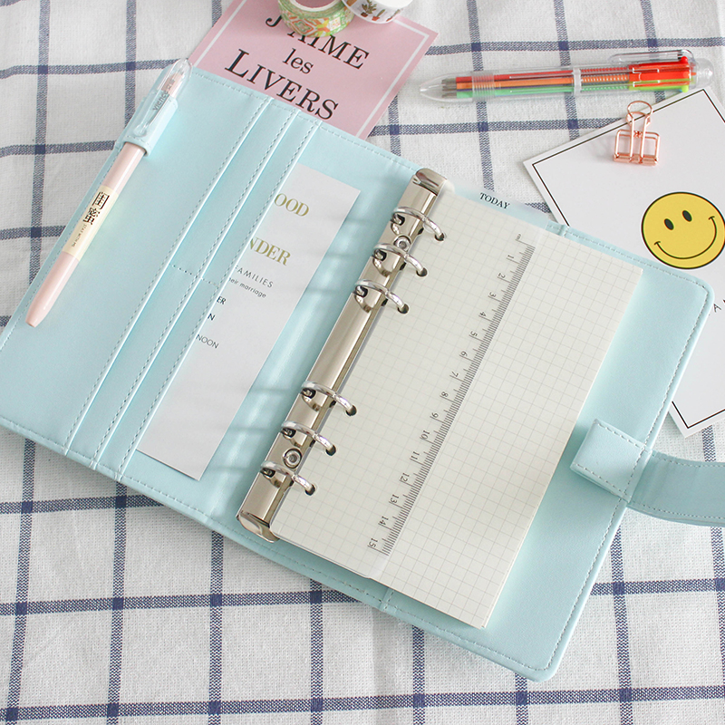 Cute A5/A6 Leather Loose Leaf Refill Notebook Cover Spiral Binder Macaron Color Kawaii Stationary Planner Book Replacement CoverCute A5/A6 Leather Loose Leaf Refill Notebook Cover Spiral Binder Macaron Color Kawaii Stationary Planner Book Replacement Cover