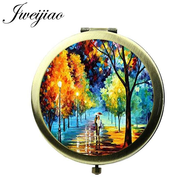 JWEIJIAO Vintage Famous Oil Paintings Art craft Pocket Mirror Glass Cabochon Round Compact Women Makeup Hand Vanity mirrors