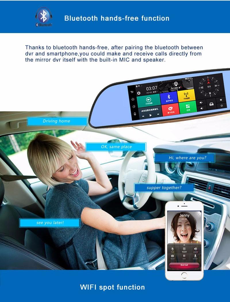 Free 32GB card+3G Car DVR+Android 5.0 Bluetooth GPS WIFI Dual lens rearview mirror camera+FHD1080P camara automovil Phisung H2 11