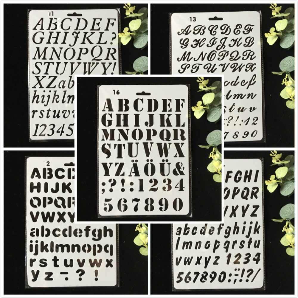 5Pcs/Pack 27cm Alphabet Letters 0-9 DIY Layering Stencils Wall Painting Scrapbook Coloring Embossing Album Decorative Template