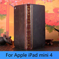 Vintage retro antiguo libro de estilo flip pu leather case cubierta elegante magnética del soporte para el ipad mini 4