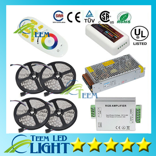 HOT 20M 5050 RGB LED Strip Light 60Leds/M Flexible Led Ribbon Tape + Wireless Touch Remote Controller+24A Amplifier+20 A Power 20m waterproof rgb 5050 smd 60 leds m led tape lighting flexible tape rope strip light xmas party garden outdoor decor 220v
