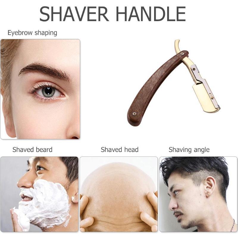 Solid Wood Handle Barber Hair Cut Razors Shaving Razors Professional Barber Hair Knifes Razor Changable Blade Type Shaving Knife