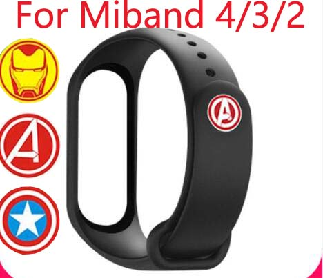 Avengers Marvel Silicone Strap Mi Band 3 Straps For Xiaomi Miband 4 Replacement Strap For MI Band 3 Smart Bracelet 11 Colors