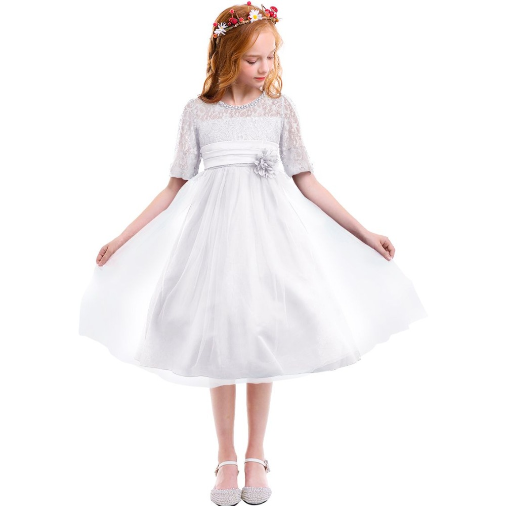 Fashion New White Tulle Wedding Bridesmaid Dresses for Kids Girls Half Sleeve Lace Ball Gown Dress Party