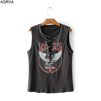 2018 Summer Sexy European Hippie Rock Print Geometric Bandage O Neck Tops T-Shirts Women Sleeveless Casual Black Cute Tees Femme