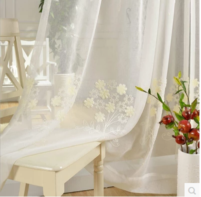 Free shipping cotton and linen embroidered voile tulle for Tende in voile