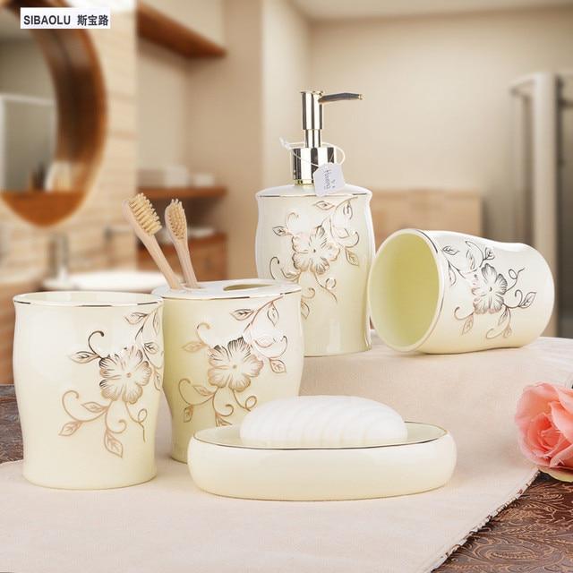 white or ivory porcelain wash set five piece ceramic set bath series bathroom accessory eco