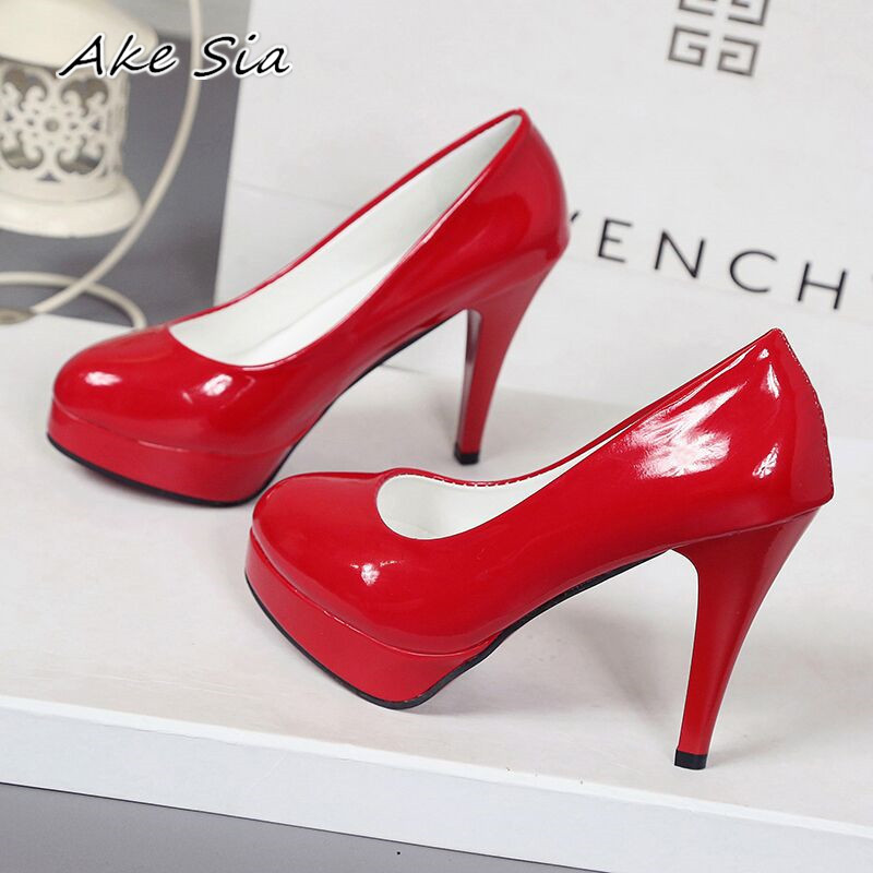10CM High-heeled Shoes Waterproof Platform Sexy Fine With Round Head Feet Korean Women's Shoes Patent Leather Large Size S071