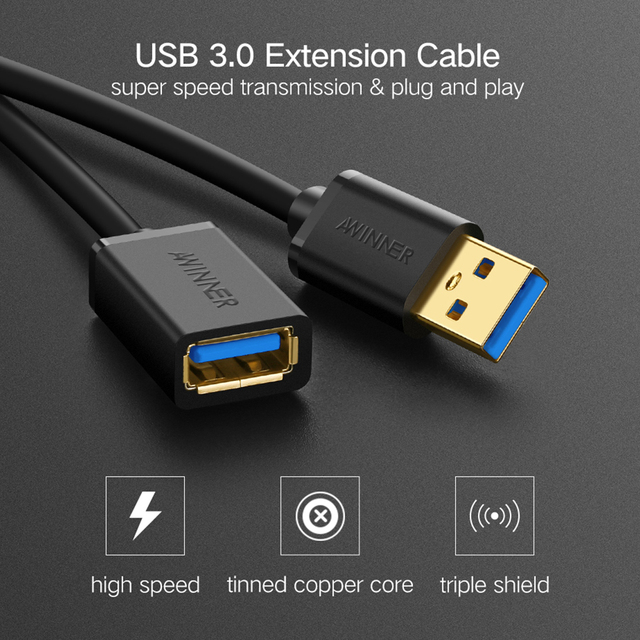 AWINNER USB Extension Cable 3.0 Male To Female 2.0 USB Extender Cord Cable 50Cm 1M 2M High Speed Charge Data Sync Transfer