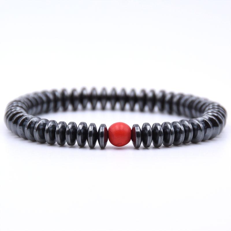 NIUYITID Hematite Bracelet Men\` Jewelry European Fashion Elastic Rope Braclet Women Accessories Charm High Quality (12)