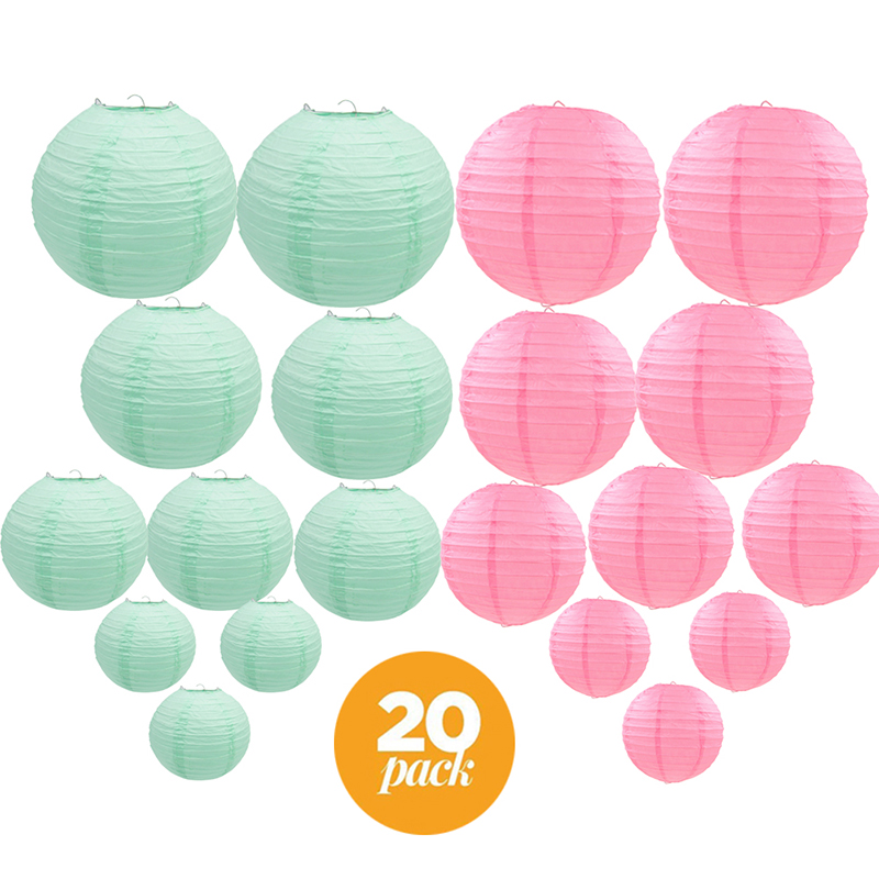 20 Pcs/set 6-12 Pink Mint Green Chinese Paper lantern lampion Assorted Sizes Color lampion de mariage Wedding Hanging Decor20 Pcs/set 6-12 Pink Mint Green Chinese Paper lantern lampion Assorted Sizes Color lampion de mariage Wedding Hanging Decor