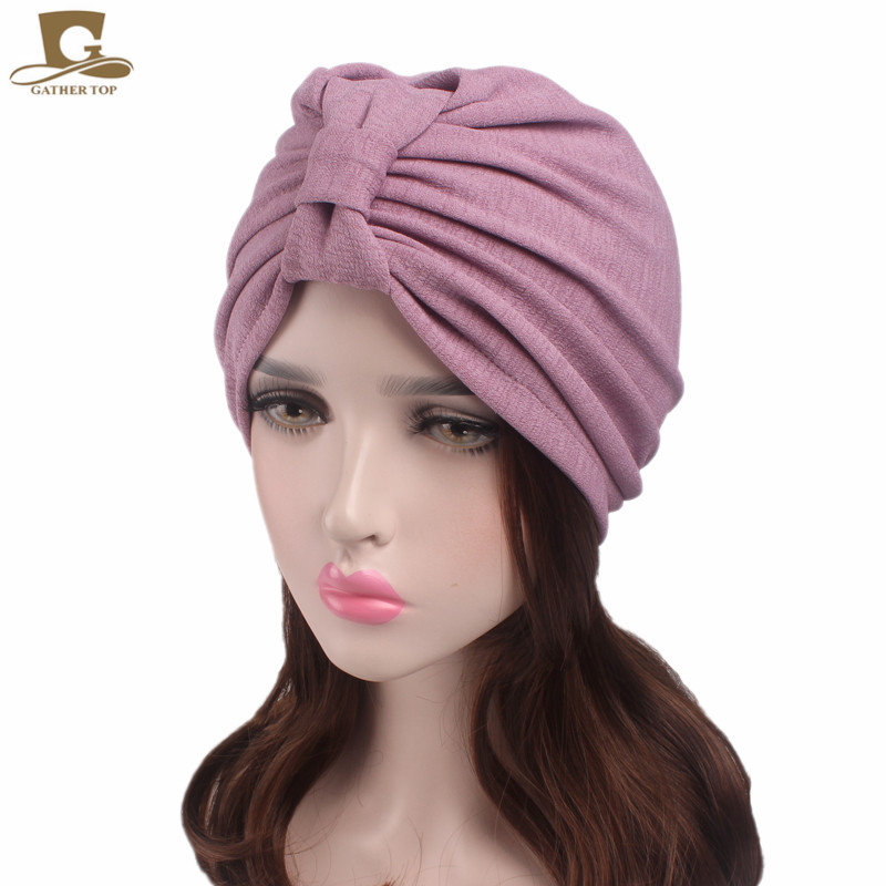 New Vintage Bowknot Turban Retro Turbans For Women Cancer Chemo Patients  Head Covers Ladies Bandanas-in Women s Hair Accessories from Apparel  Accessories on ... ccd9925476d