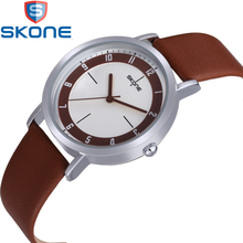 SKONE Fashion Women's Watches Leather Watchband Simple Quartz Watch for Women Wristwatches HE9340