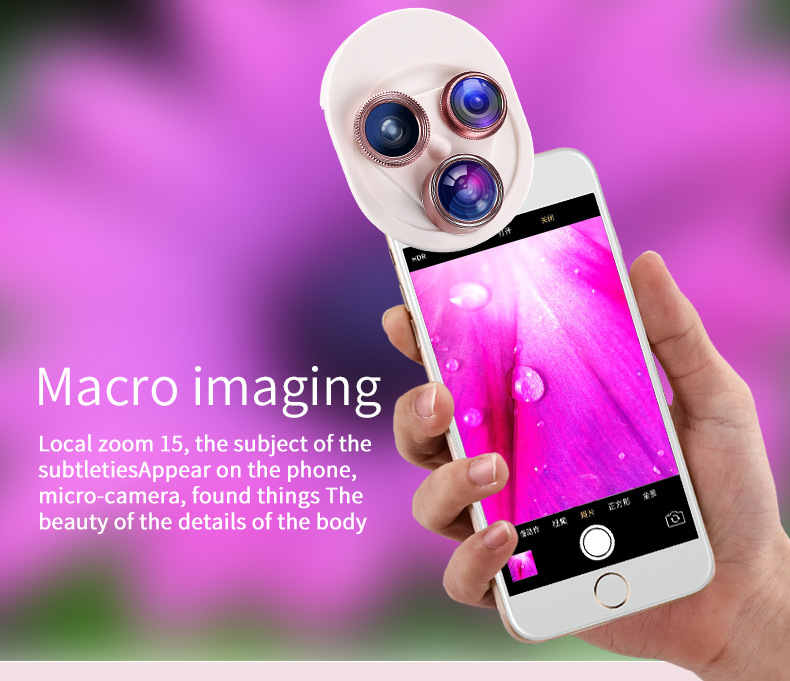 Cell Phone Camera Lens 4 in 1 Universal Professional Kit Fisheye Macro + Wide-angle + CPL Polarized Lens For iPhone Samsung 11