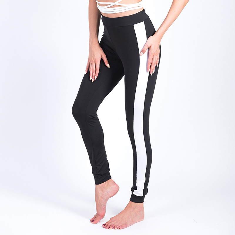 Leggings Elastic side white wide line Leggings Printing casual pants pants fitness pants clothes