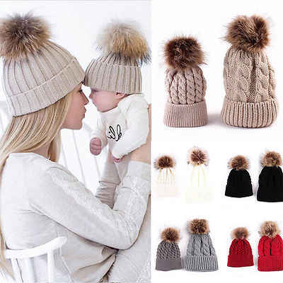 2Pcs Lovely Parent-child Hat Baby Girls Boys Hats Women Mother Hat Warm Winter Knit Fur Crochet Pompon Winter Caps