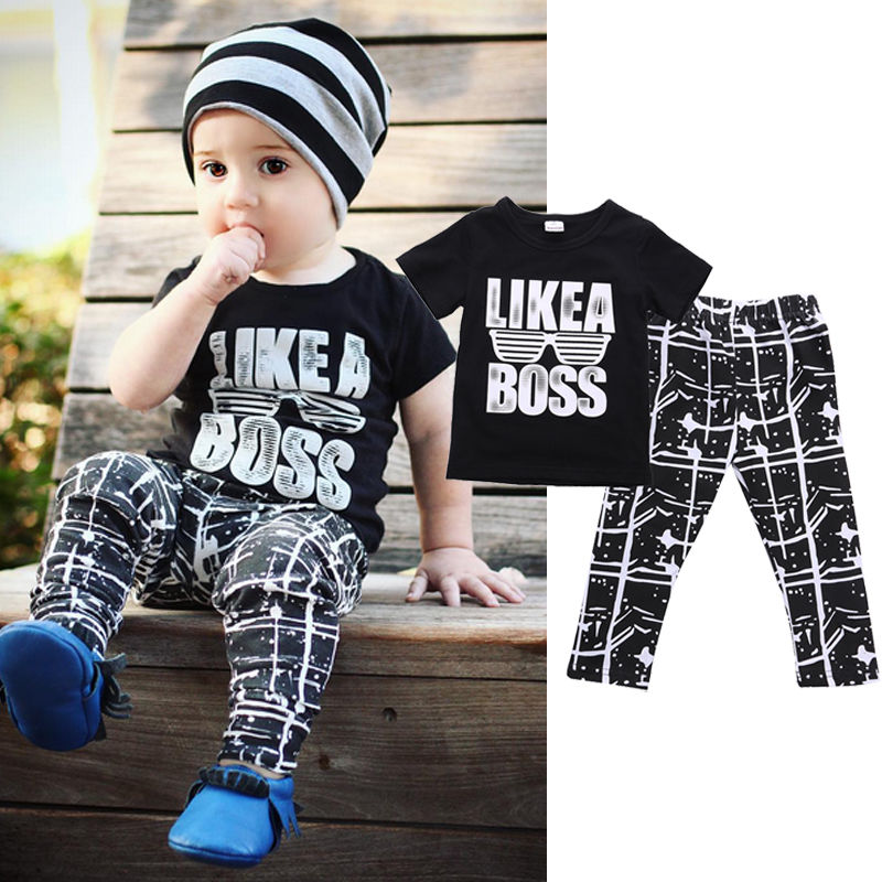 Cute Toddler Kids Baby Boy Short Sleeve T-shirt Tops+Pants Trousers 2pcs Outfits Clothes Set